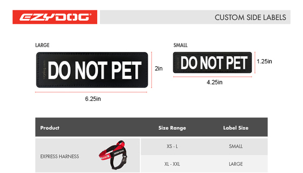 Express Harness Side badge Size Guide