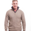 McDonald - Possum & Merino Cable Jersey with Contrast Trim