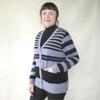 Silver Stream Angora & Merino Striped Cardigan