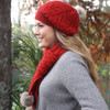 Lothlorian Possum and Merino Cable Scarf with Fur Pompoms