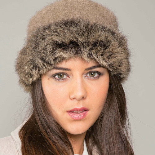1f4de81c8 Classic Lambskin Suede and Possum Fur Hat