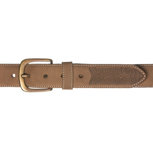 Kiwi Country - Embossed Spear Leather Belt