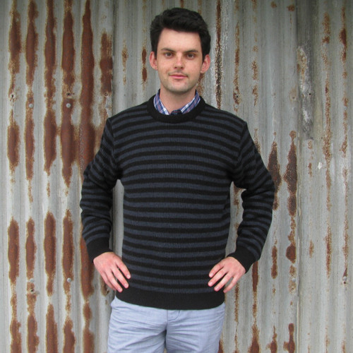 Silverstream - Crew Neck Fishermans Rib Striped Wool Sweater
