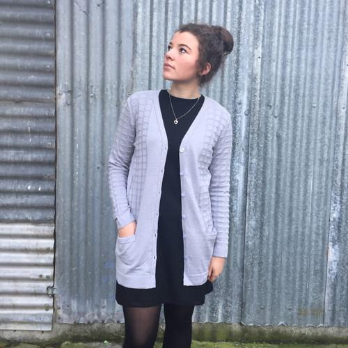 Silver Stream Longline Wool Cardigan with Pockets - Glacier Grey