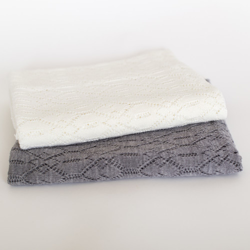 Silver Stream Merino Wool Lace Baby Blanket
