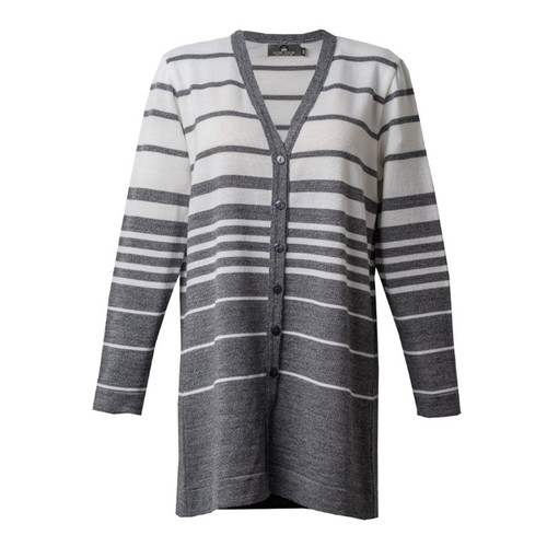 Silver Stream Graduated Stripe Merino Cardigan