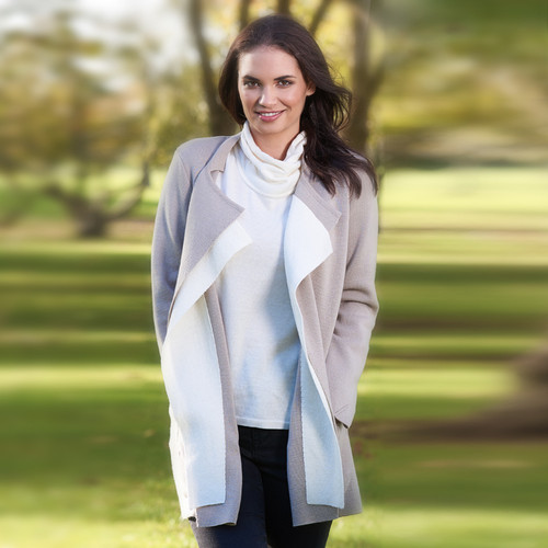 Royal Merino Contrast Trim Open Front Coat