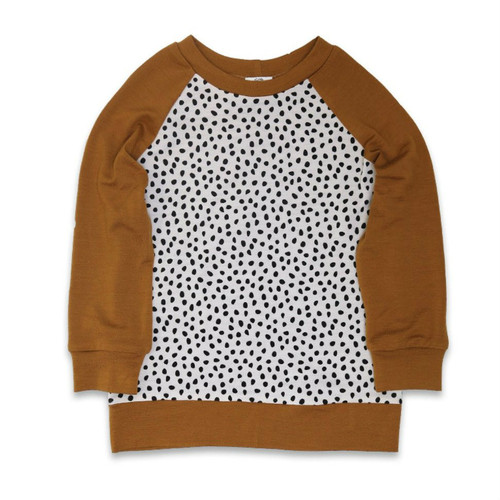 Little Periam - Raglan Top : Salted Caramel & Pebble Print