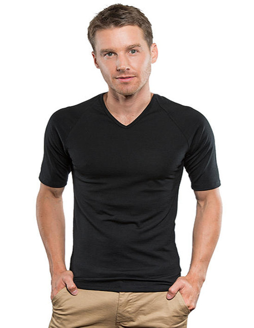 Brass Monkey Merino Mens Thermal Short Sleeve V Neck Top