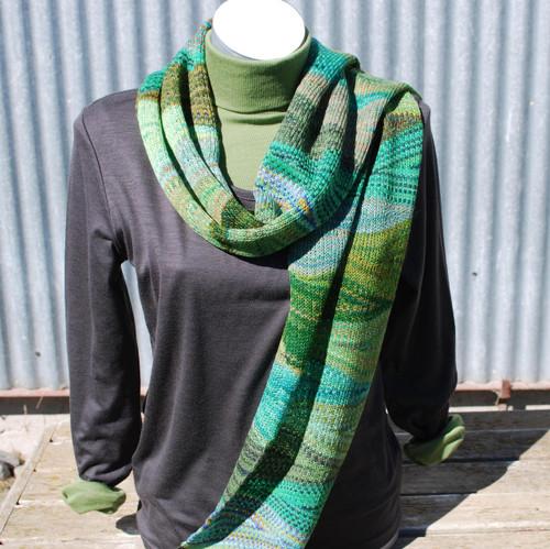 Little Wool Company Hand Dyed Merino Scarf - Green