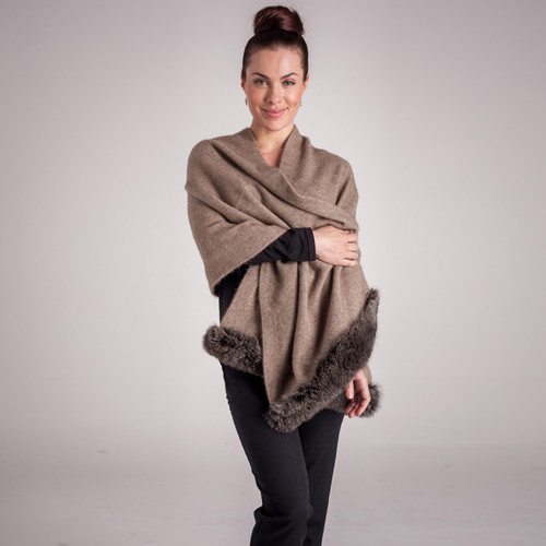 Koru Merino - Possum Fur Trim Shawl