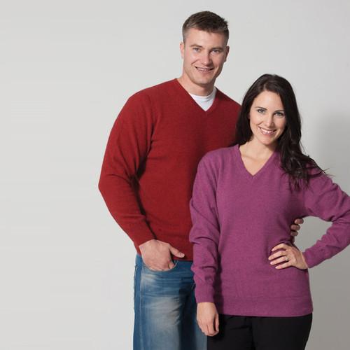 Possumdown Merino - Possum Unisex 'Weekender' V Neck Sweater