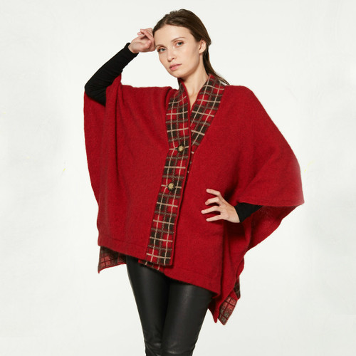 McDonald - Possum & Merino Tartan Cape with Buttons