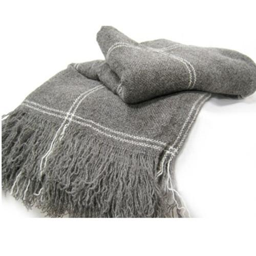 Stansborough Grey Wool 'Ecru' Twill Check Throw