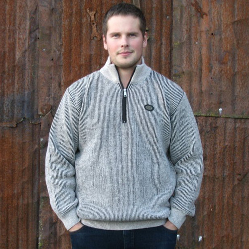 Silver Stream Fishermans Rib Half Zip Wool Sweater