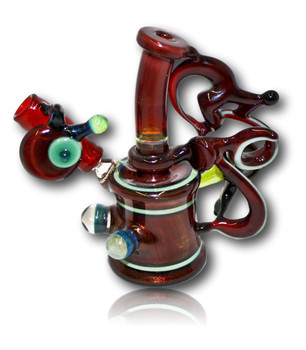 "Joe Sandler / D. Colton Glass Colaboration! 4"" Enclamo Mini Tube w/Twisted Cane."