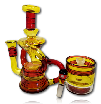 FullZirkl & Biglin Glass Collab - Double Uptake 'Floater' Recycler w/Jar.