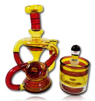 FullZirkl & Biglin Glass Collab - Double Uptake 'Floater' Recycler w/Jar.