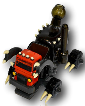"""Joe P/Elbo Glass Dino Garbage Truck! 14mm Joint, 8x12"""" Sculped Borosilicate. Exceptional function, exceptional art!"""