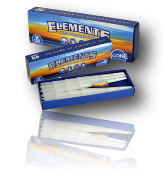 Elements 'Ultimate' King Size Cones - Box of 40 pre-rolled, rice paper cones.