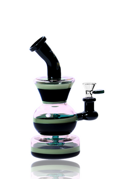 """11"""" NICE GLASS BLACK DIRECT INJECT CUP & BALL BUBBLER"""