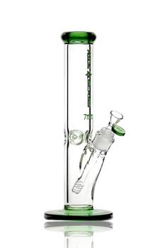 "12"" NICE GLASS GREEN 7MM STRAIGHT TUBE W PINCH"