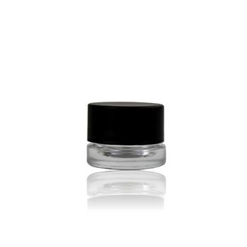 5ML BLACK CAP THICK WALL GLASS CONCENTRATE CONTAINER SCREW TOP