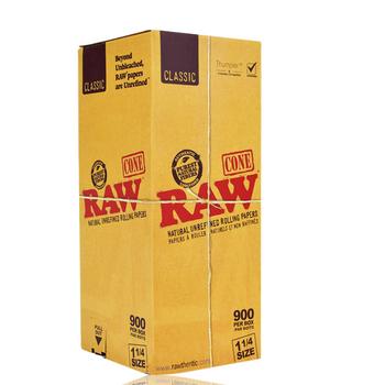 RAW NATURAL UNREFINED HEMP PRE ROLLED 1 1/4 CONES BOX/900
