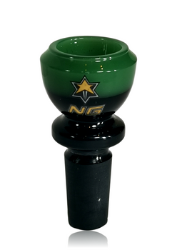NICE GLASS 14MM GREEN TWO TONE CUPPED BOWL
