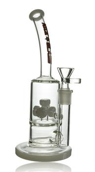 """10"""" NICE GLASS WHITE 5 WHEEL PERC BUBBLER"""