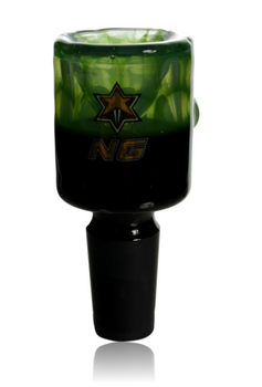 NICE GLASS 14MM GREEN TWO TONE BUCKET BOWL