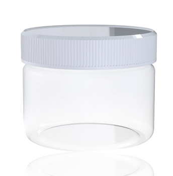 2oz CLEAR GLASS JAR WHITE TOP