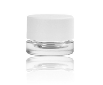 CHILD RESISTANT 5ML WHITE CAP THICK WALL GLASS CONCENTRATE CONTAINER SCREW TOP