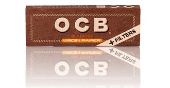 OCB VIRGIN UNBLEACHED 1 1/4 W/FILTERS