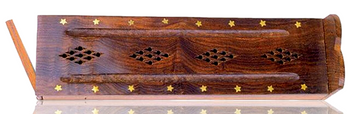 """12"""" WOOD COFFIN INCENSE BOX - STAR INLAY DOUBLE WIDE"""