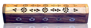 """12"""" WOOD COFFIN INCENSE BOX - LOTUS INLAY DOUBLE WIDE"""