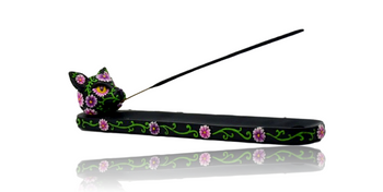 """10"""" DAY OF THE DEAD CAT INCENSE HOLDER"""