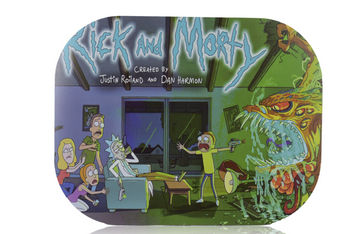 ROLLING TRAY SMALL  W/LID - RICK AND MORTY INTRO