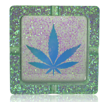 PRETTY PUFFERS SQUARE RESIN ASHTRAY W/ LEAF DECAL ASSORTED COLOURS