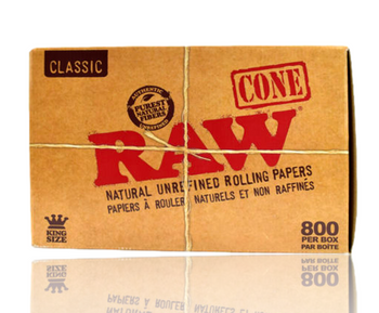 RAW CLASSIC NATURAL UNREFINED HEMP PRE ROLLED CONES KING SIZE 800