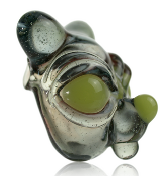 GHOST CAT GLASS MOUSE PENDANT
