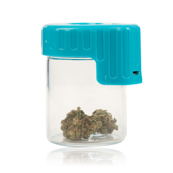 BLUE LIGHT-UP GLASS SEAL JAR WITH MAGNIFIER