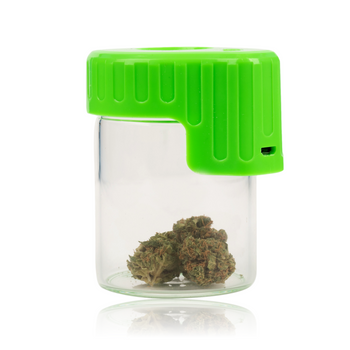 GREEN LIGHT-UP GLASS SEAL JAR WITH MAGNIFIER