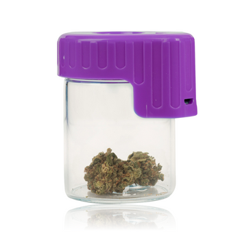 PURPLE LIGHT-UP GLASS SEAL JAR WITH MAGNIFIER