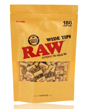 RAW PRE-ROLLED WIDE TIPS BAG/180