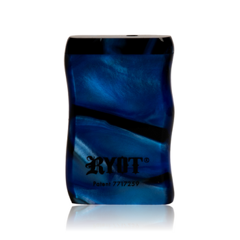 SHORT BLUE & BLACK ACRYLIC TASTER BOX W BLACK CIG BAT