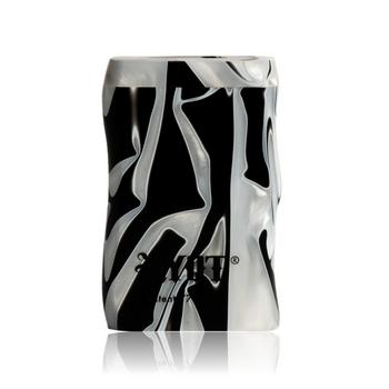 SHORT BLACK & WHITE ACRYLIC TASTER BOX W BLACK CIG BAT