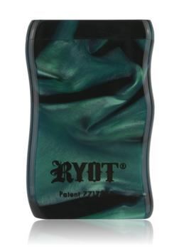 SHORT GREEN & BLACK ACRYLIC TASTER BOX W BLACK CIG BAT