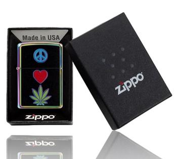 ZIPPO PEACE LOVE LEAF DESIGN