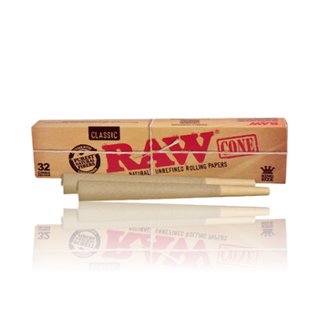 RAW CLASSIC KING SIZED PRE ROLLED CONES 32 Pack